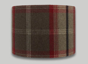 Balmoral Rosso Red Tartan Check Tweed Drum Lampshade