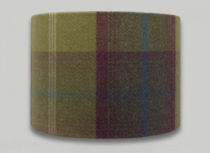 Balmoral Pistachio Green Purple Tartan Check Tweed Drum Lampshade