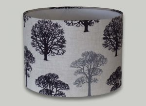 Black and Grey Trees Drum Lampshade