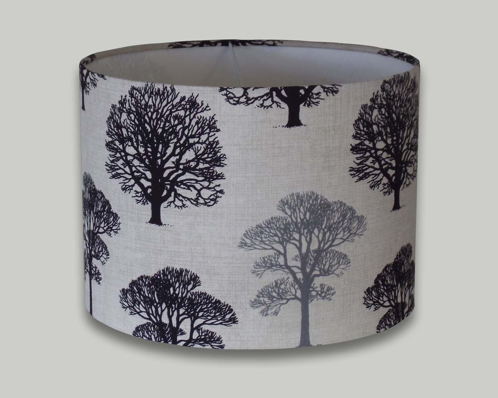 Black grey trees drum lampshade the lampshade barn black and grey trees drum lampshade aloadofball Choice Image