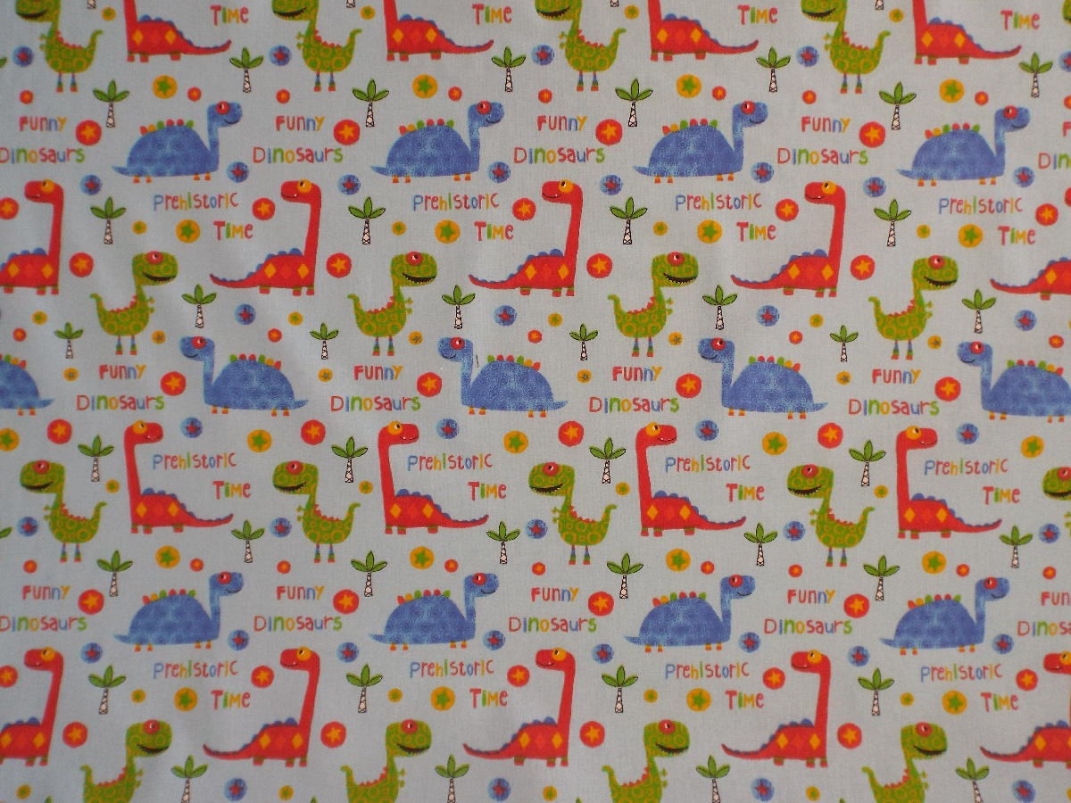 Funny dinosaur fabric the lampshade barn for Nursery fabric uk