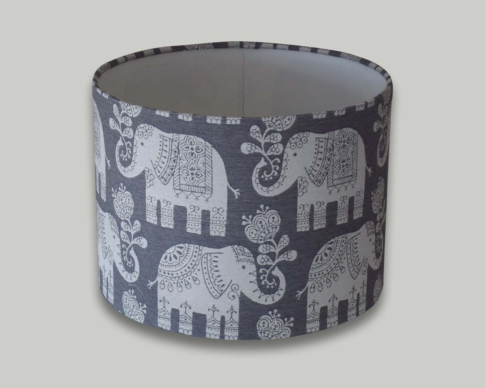 Amy Elephant Grey Drum Lampshade The Lampshade Barn