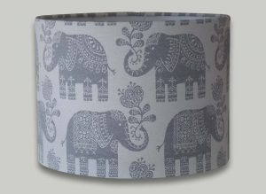 Amy Elephant Cream and Grey Drum Lampshade