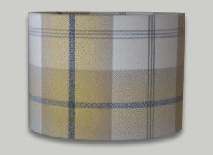 Balmoral Ochre Yellow Grey Tartan Check Tweed Drum Lampshade
