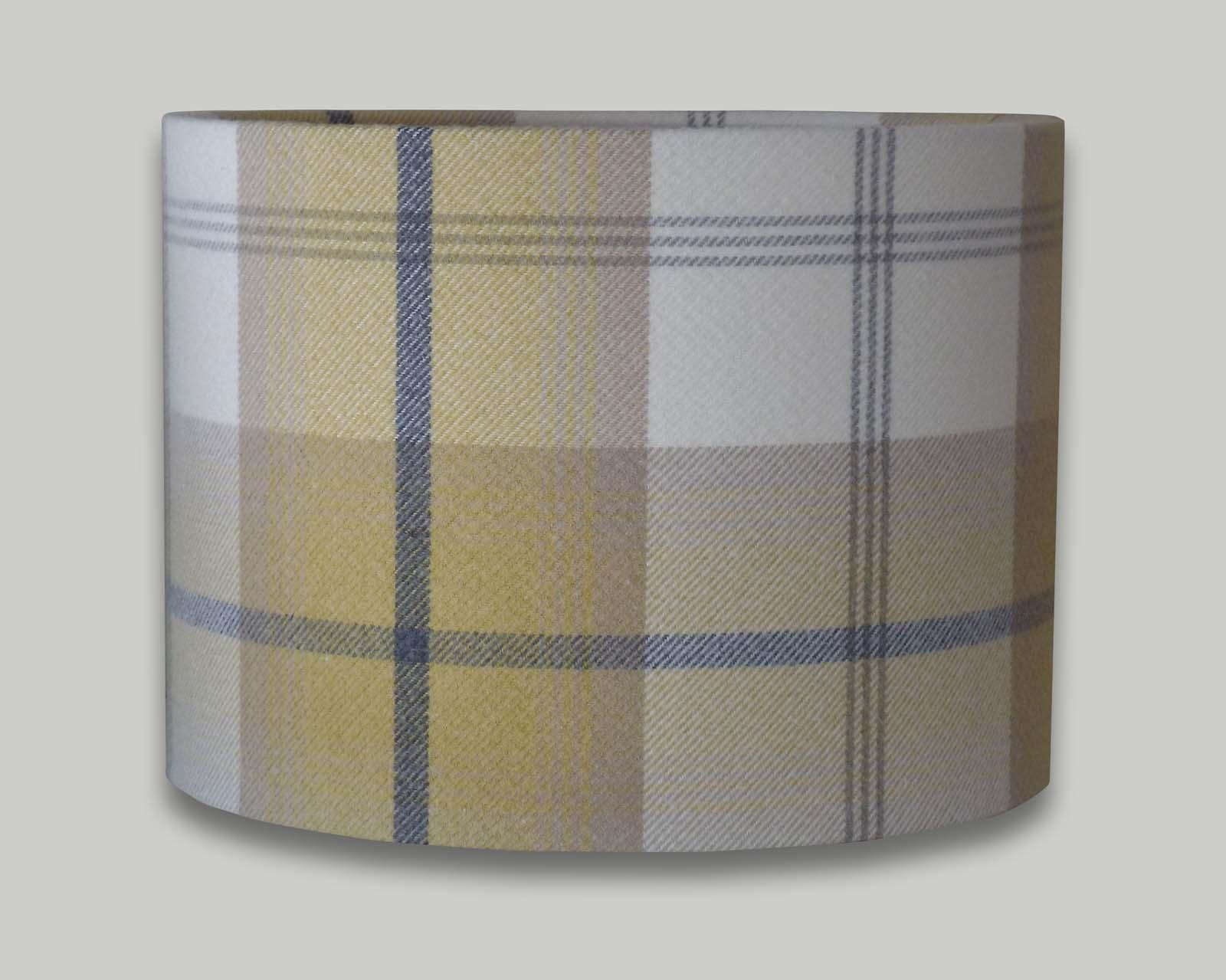 Balmoral Ochre Yellow Grey Tartan Check Tweed Drum
