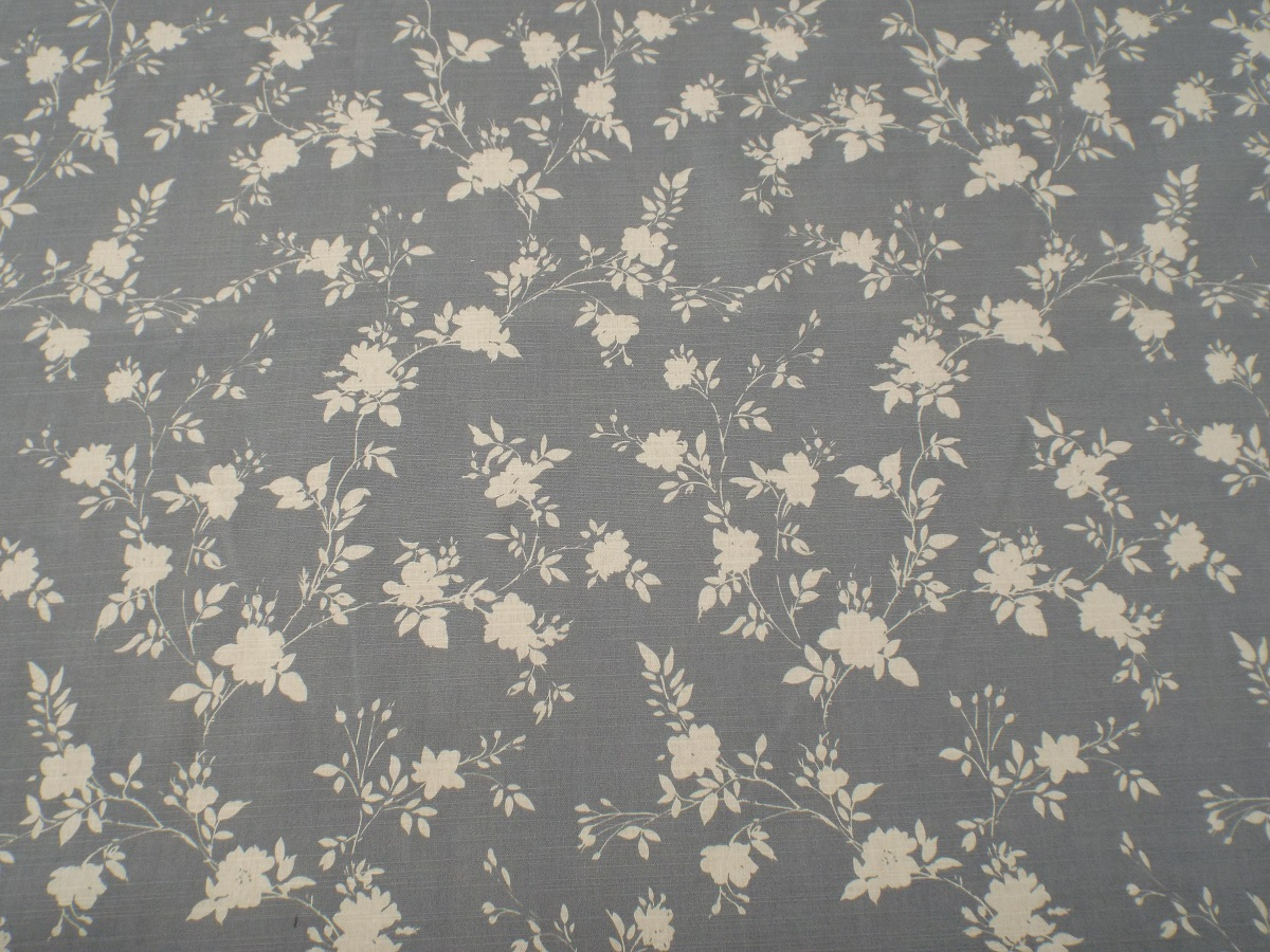 Carnival Rose Blue Grey Floral Fabric - THE LAMPSHADE BARN
