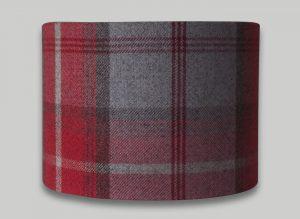 Balmoral Cherry Red Grey Tartan Check Tweed Drum Lampshade