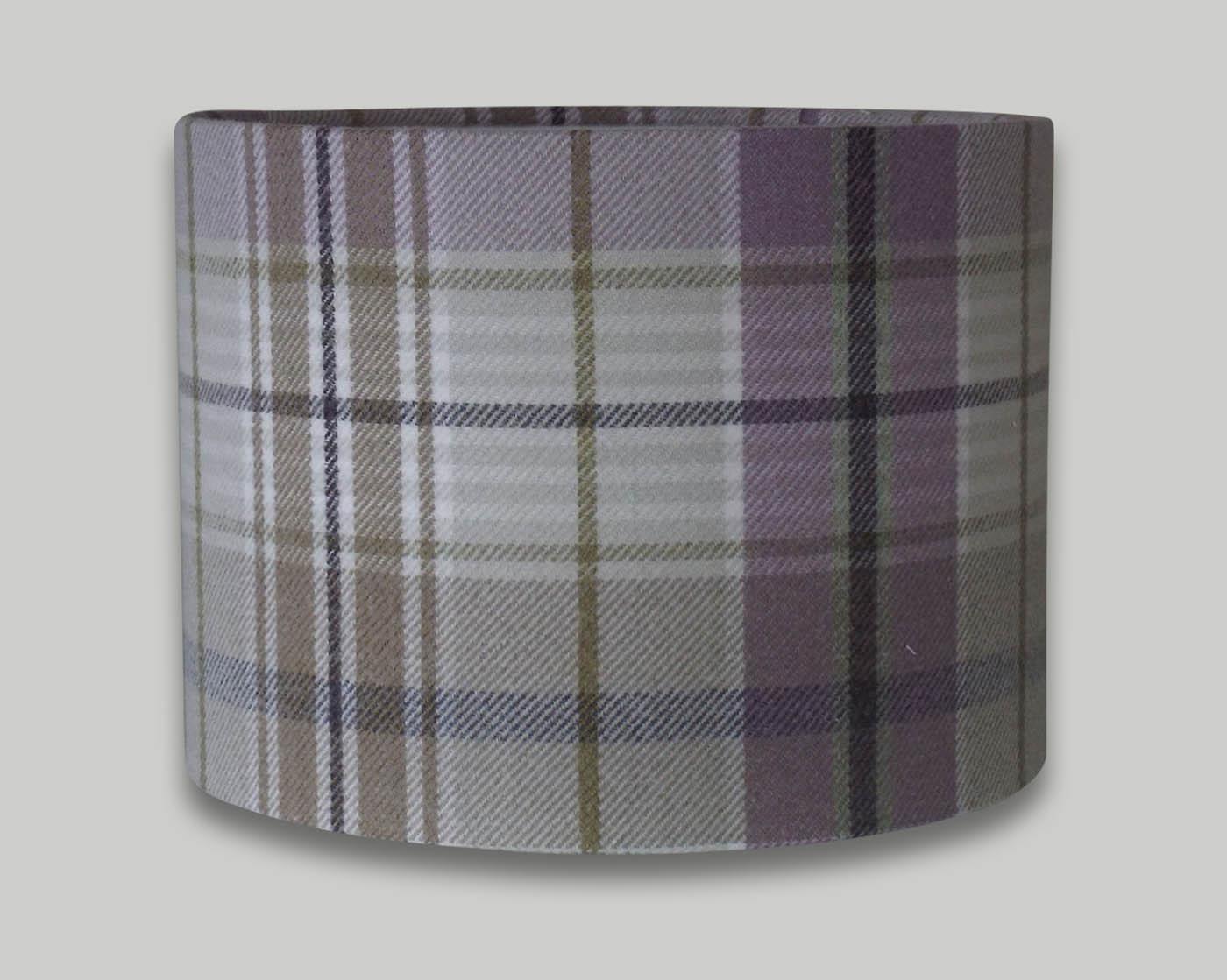 Troon Lavender Purple Tartan Check Tweed Drum Lampshade