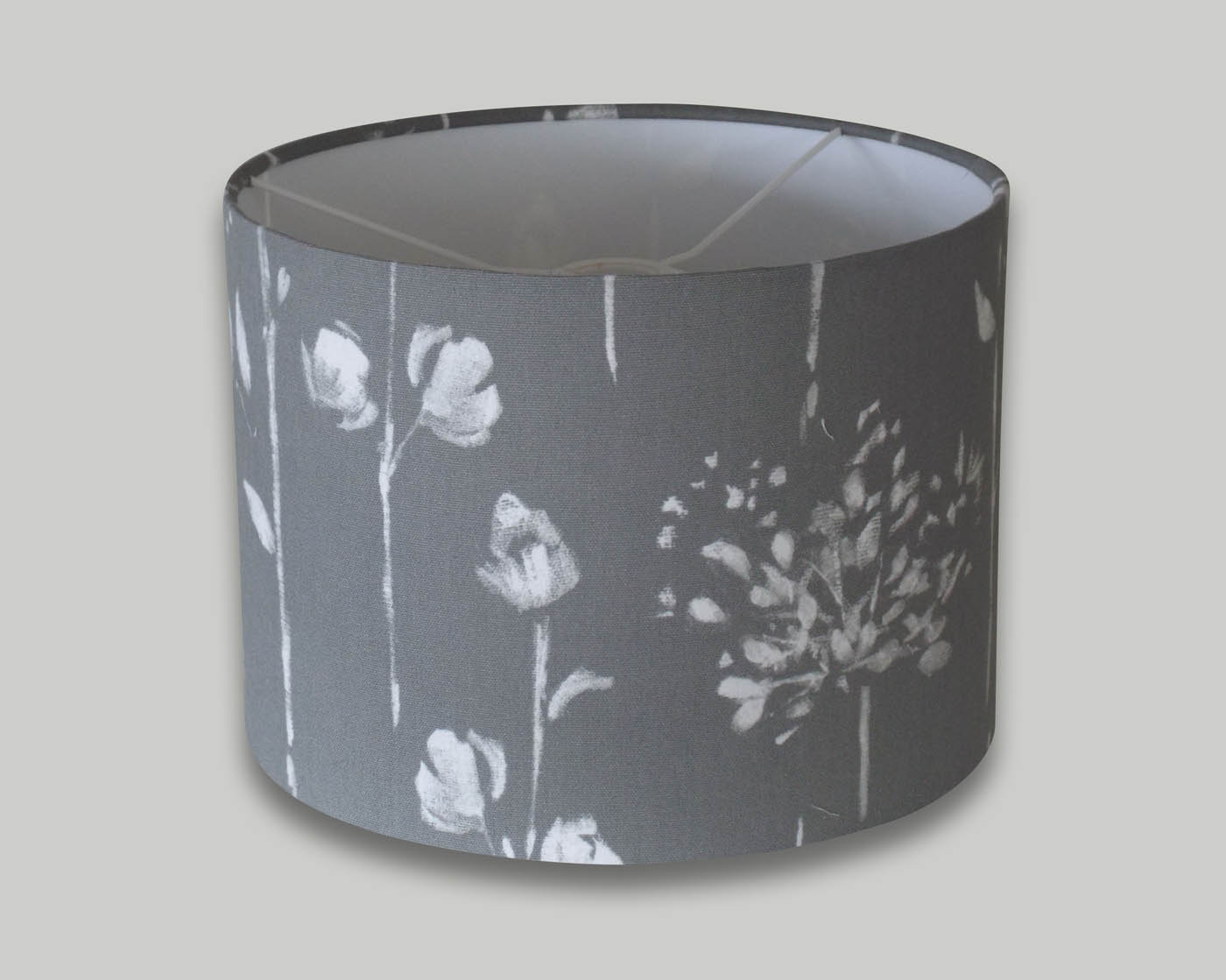 Windsor Grey Floral Drum Lampshade The Lampshade Barn