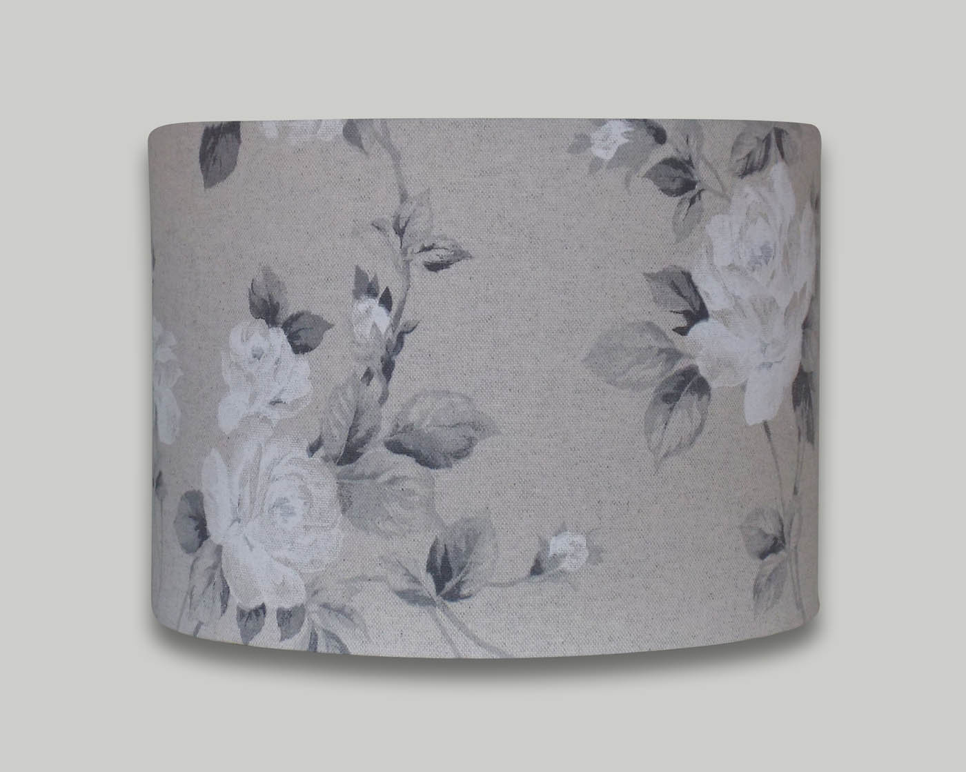 Grey white rose floral drum lampshade the lampshade barn grey white rose floral drum lampshade aloadofball Image collections