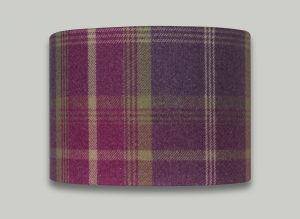 Balmoral Amethyst Pink Purple Tartan Check Tweed Drum Lampshade