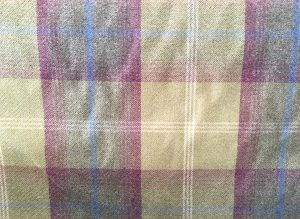 Balmoral Pistachio Green Purple Tartan Fabric