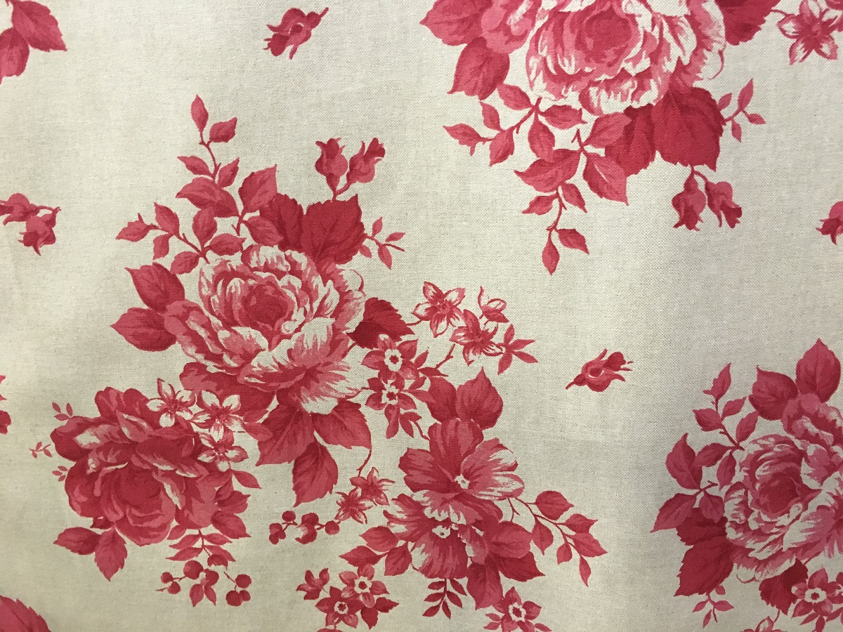 Red Faded Rose Floral Fabric 280cm Wide The Lampshade Barn