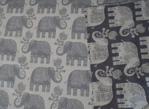 Amy Elephant Grey Cream Fabric