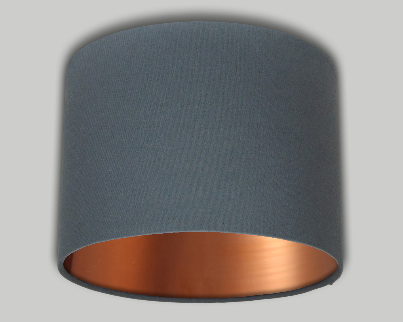 dark grey drum lampshade brushed copper inner the