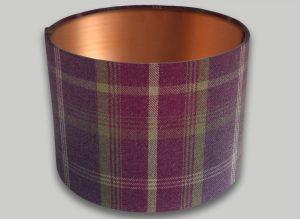 Balmoral Amethyst Tartan Drum Lampshade Copper Inner