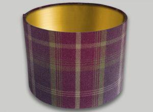 Balmoral Amethyst Tartan Drum Lampshade Gold Inner