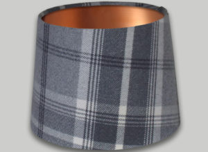 Balmoral Dove Grey French Drum Lampshade Brushed Copper Inner