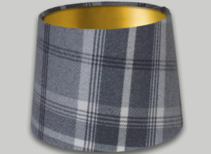 Balmoral Dove Grey French Drum Lampshade Brushed Gold Inner