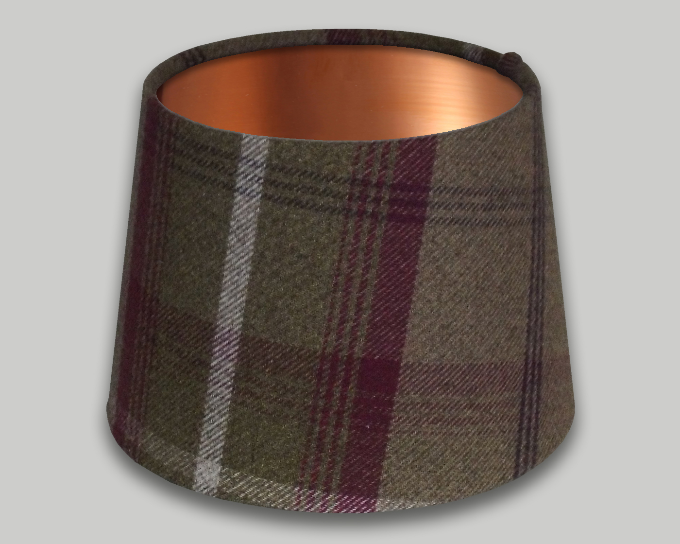Balmoral Heather French Drum Lampshade Brushed Copper Inner