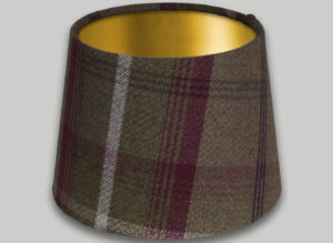 Balmoral Heather French Drum Lampshade Brushed Gold Inner
