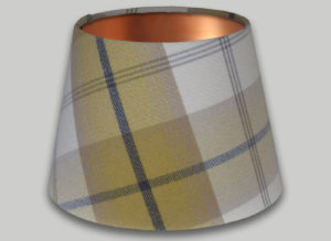 Balmoral Ochre Yellow Grey Empire Lampshade Copper Inner