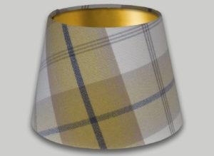 Balmoral Ochre Yellow Grey Empire Lampshade Gold Inner