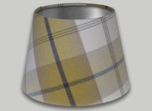 Balmoral Ochre Yellow Grey Empire Lampshade Silver Inner