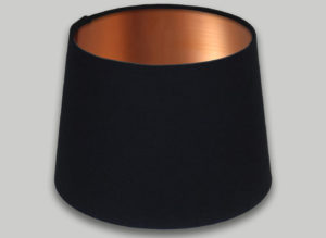 Black French Drum Lampshade Brushed Copper Inner