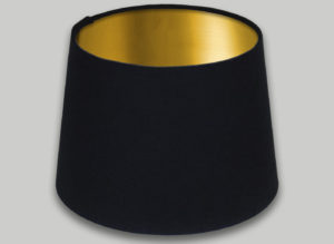 Black French Drum Lampshade Brushed Gold Inner