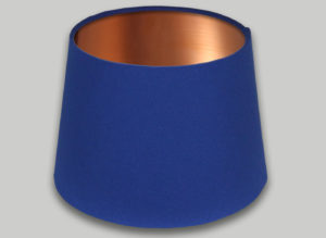 Blue French Drum Lampshade Brushed Copper Inner