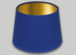 Blue French Drum Lampshade Brushed Gold Inner