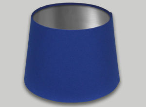 Blue French Drum Lampshade Brushed Silver Inner
