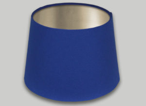 Blue French Drum Lampshade Champagne Inner