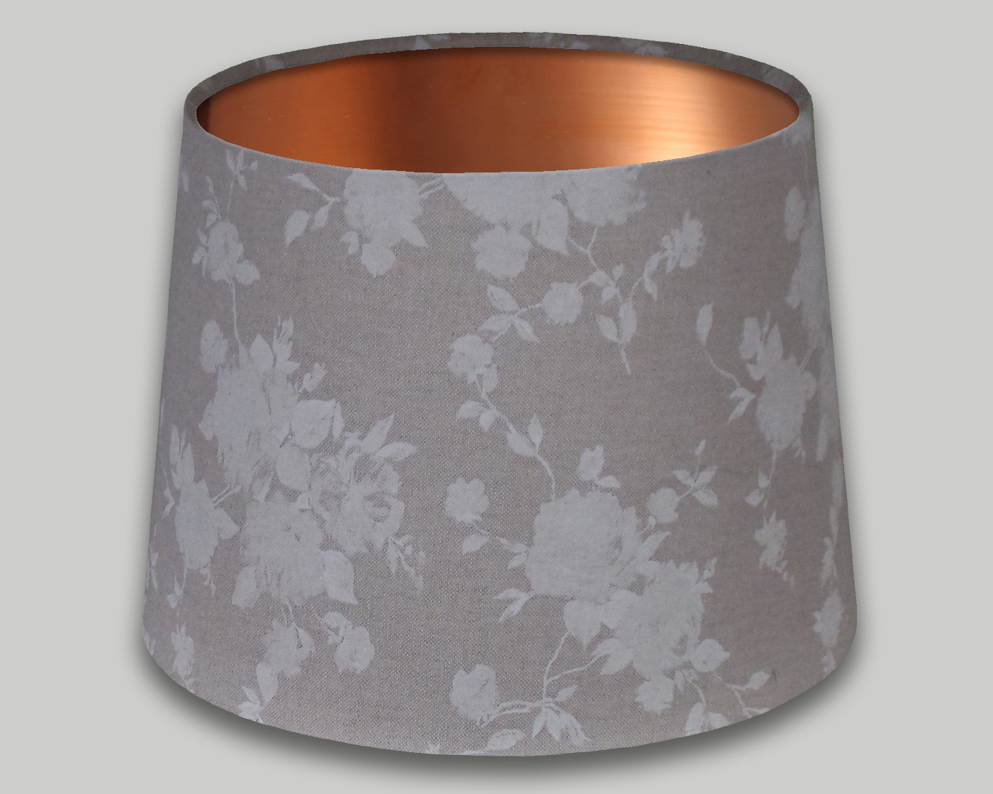 White Rose French Drum Lampshade Brushed Copper Inner The