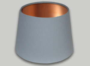 Light Grey French Drum Lampshade Brushed Copper Inner