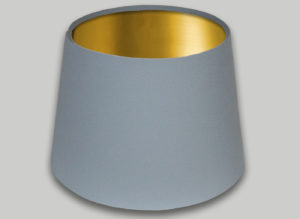 Light Grey French Drum Lampshade Brushed Gold Inner