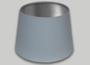 Light Grey French Drum Lampshade Brushed Silver Inner
