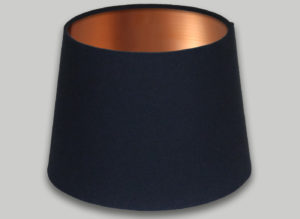Dark Navy Blue French Drum Lampshade Brushed Copper Inner
