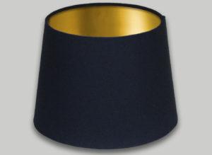 Dark Navy Blue French Drum Lampshade Brushed Gold Inner