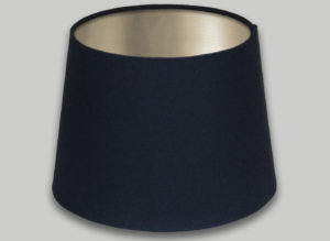Dark Navy Blue French Drum Lampshade Champagne Inner