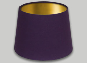 Purple French Drum Lampshade Brushed Gold Inner