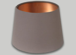 Dark Beige French Drum Lampshade Brushed Copper Inner