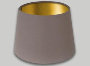 Dark Beige French Drum Lampshade Brushed Gold Inner