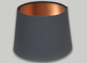 Dark Grey French Drum Lampshade Brushed Copper Inner