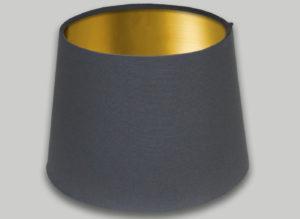 Dark Grey French Drum Lampshade Brushed Gold Inner
