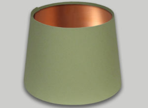 Green French Drum Lampshade Brushed Copper Inner