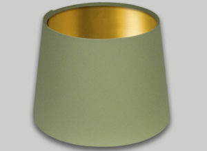 Green French Drum Lampshade Brushed Gold Inner