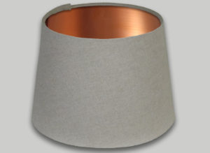 Light Beige French Drum Lampshade Brushed Copper Inner