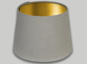 Light Beige French Drum Lampshade Brushed Gold Inner